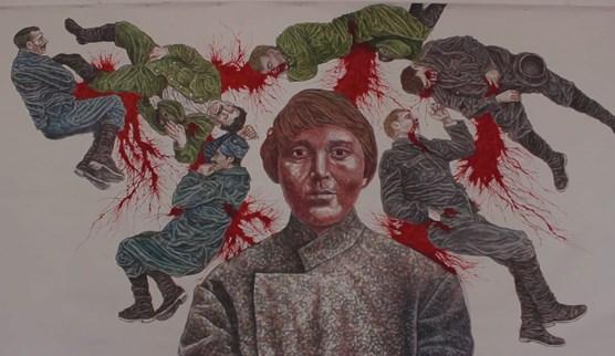 Разгромленную выставку художника Чичкана открыли заново - с надписями на стенах и поврежденными работами - Цензор.НЕТ 7254